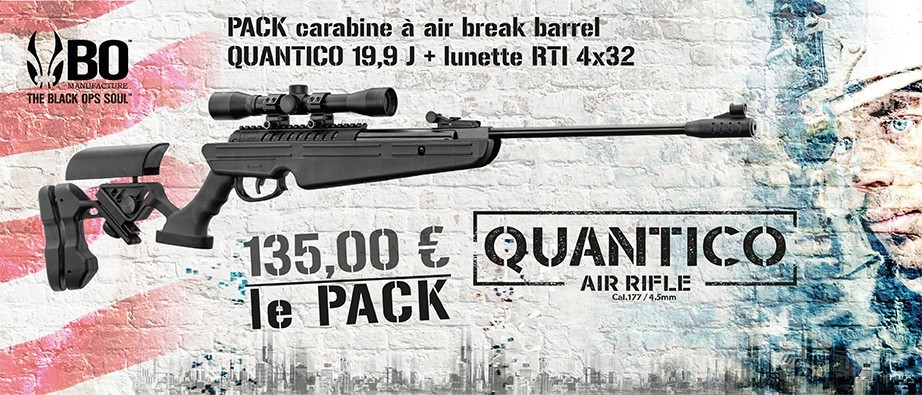 ARRIVAGE PACK carabine à air break barrel  QUANTICO 19,9 J + lunette RTI 4x32