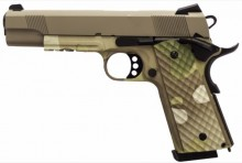 Photo Réplique GBB 1911 MEU Rail Raven full metal gaz Camo tan 1,0J