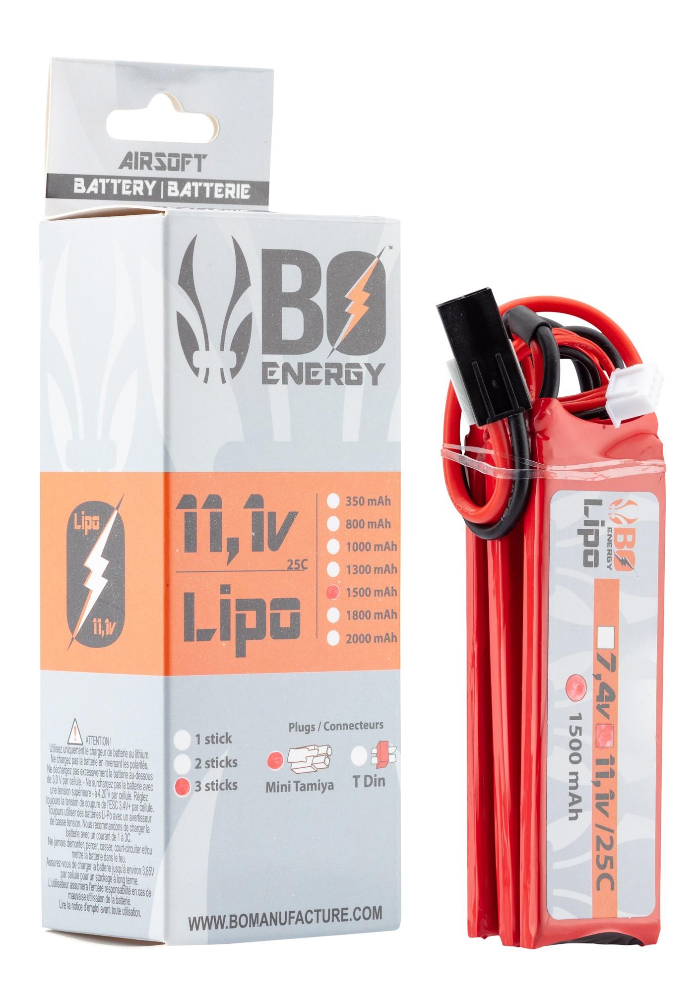 HRB Batteria LiPo 1500mAh 11.1V 25C 3S T per Elicottero ...